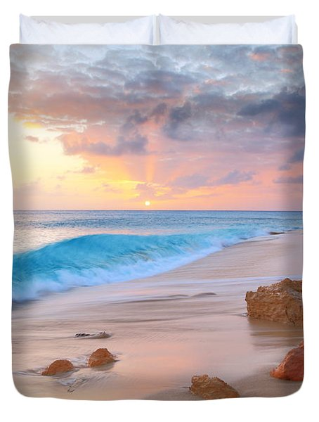 Cupecoy Beach Sunset Saint Maarten Duvet Cover