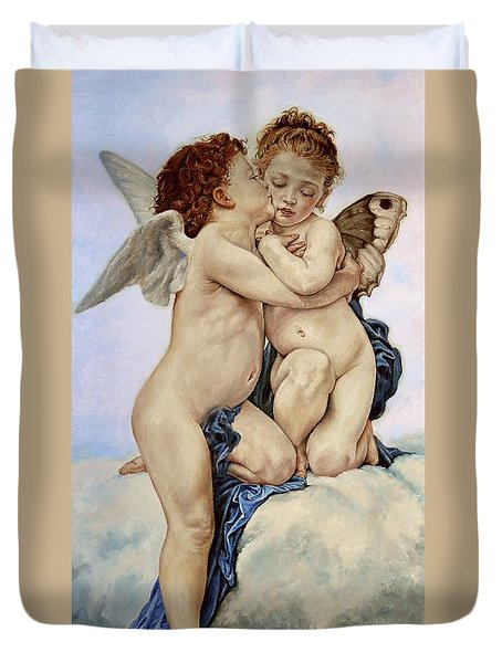 Cupid And Psyche Reproduction William Adolphe Bouguereau  Duvet Cover