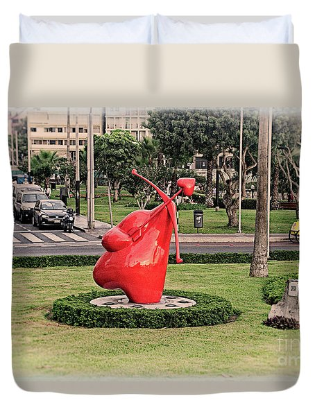 Duvet Cover featuring the photograph Cupid's Heart  by Mary Machare