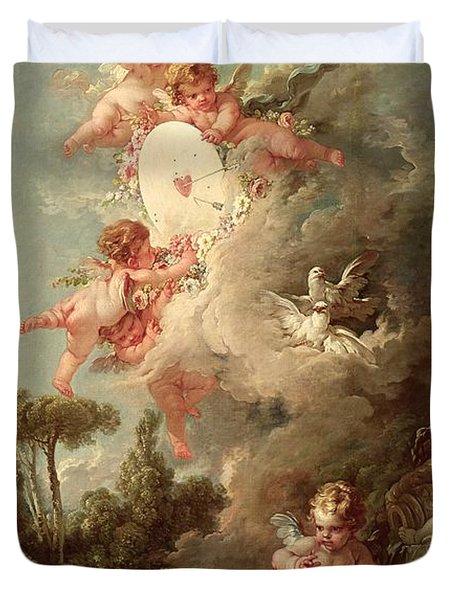Cupids Target Duvet Cover by Francois Boucher
