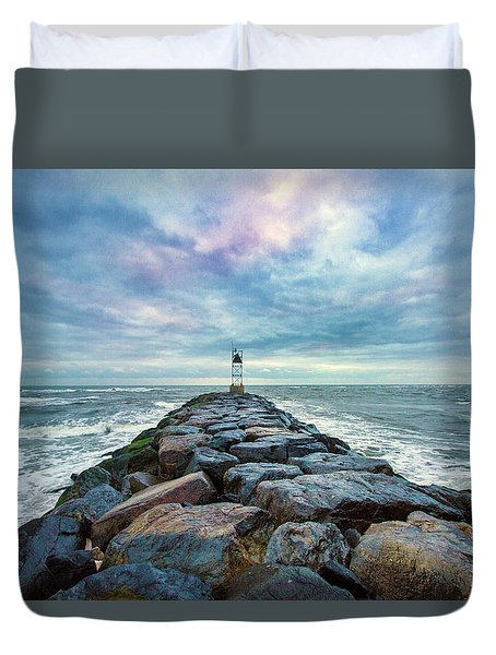 Cupsogue Clouds At Dusk Duvet Cover