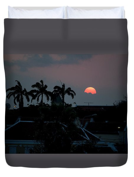 Duvet Cover featuring the photograph Curacao Sun Rise by Allen Carroll