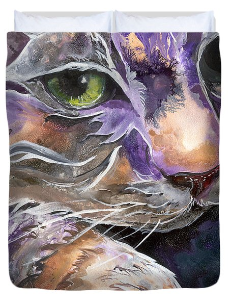 Duvet Cover featuring the painting Curiosity by Sherry Shipley