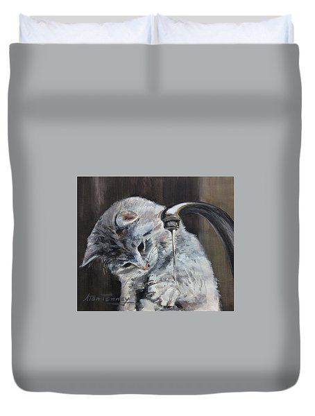 Duvet Cover featuring the painting Curiosity by Stan Tenney