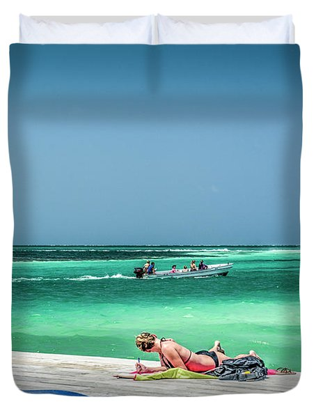 Curious Bikini Clad  Sunbather Duvet Cover