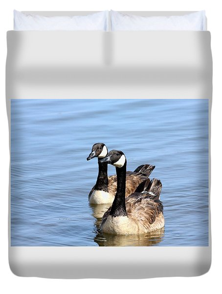 Duvet Cover featuring the photograph Curious Canda Geese by Sheila Brown