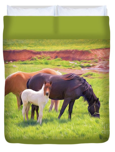 Curious Colt And Mares Duvet Cover