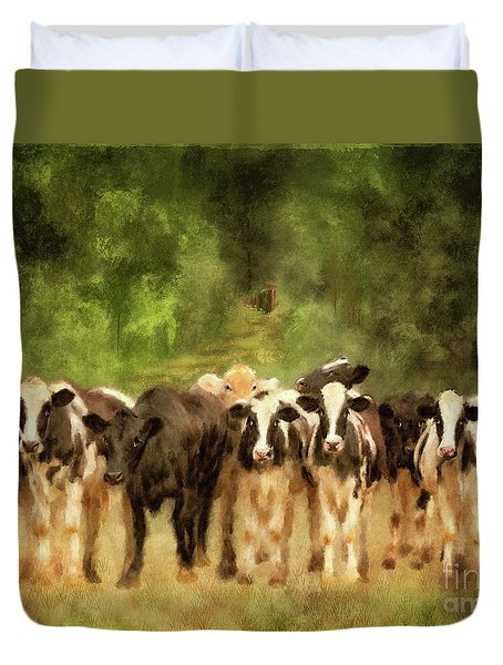 Duvet Cover featuring the digital art Curious Cows by Lois Bryan