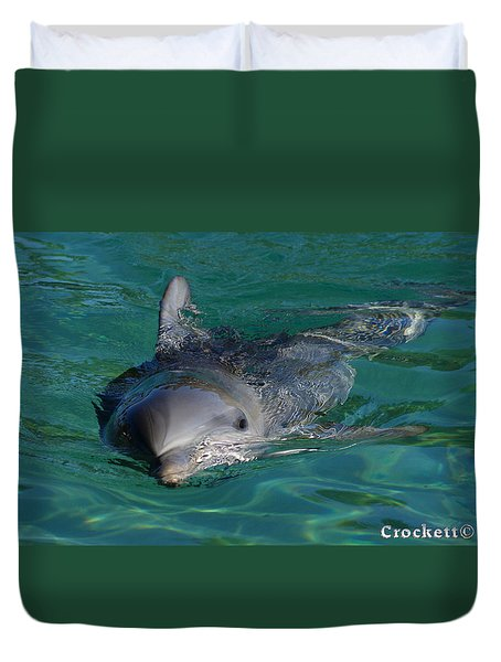 Curious Dolphin Duvet Cover by Gary Crockett