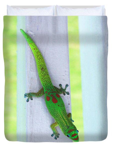 Curious Gecko Duvet Cover by Karen Nicholson
