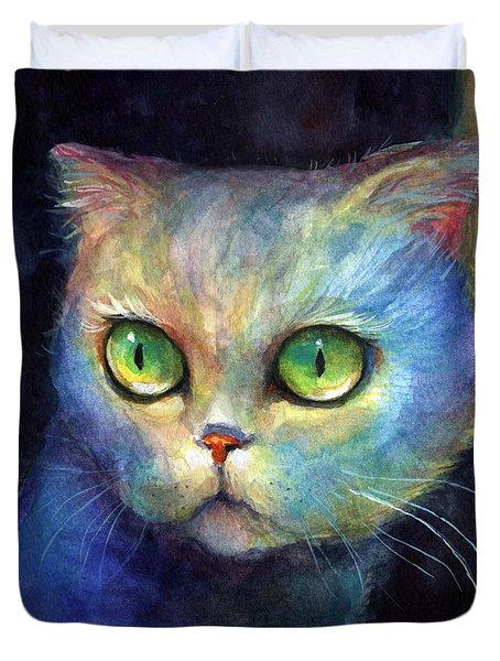 Curious Kitten Watercolor Painting  Duvet Cover by Svetlana Novikova