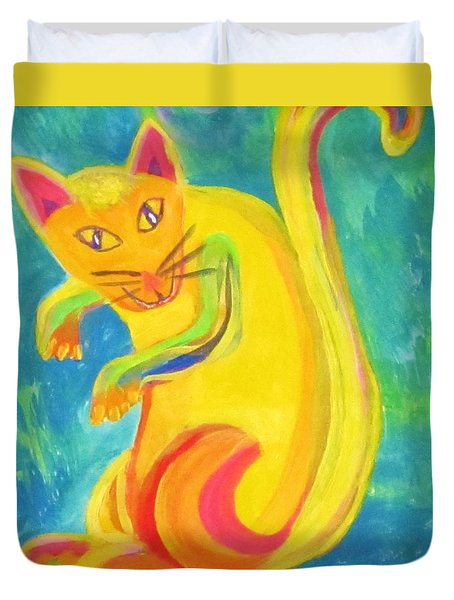 Duvet Cover featuring the painting Curious Kitty by Cathy Long
