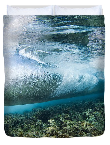 Curl Of Wave From Underwater Duvet Cover by Dave Fleetham - Printscapes