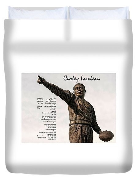 Duvet Cover featuring the photograph Curley Lambeau by Trey Foerster