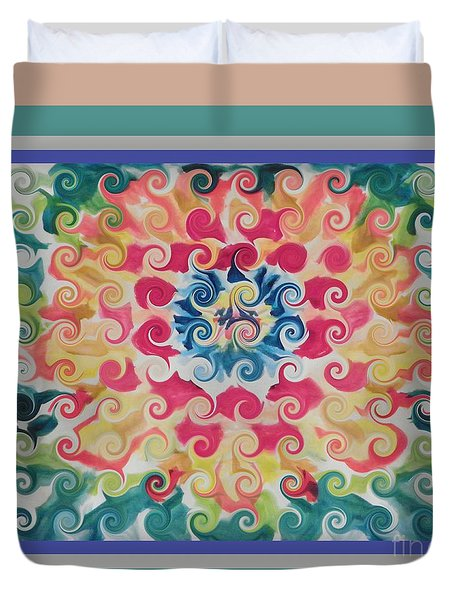Curly Floral Bloom Duvet Cover