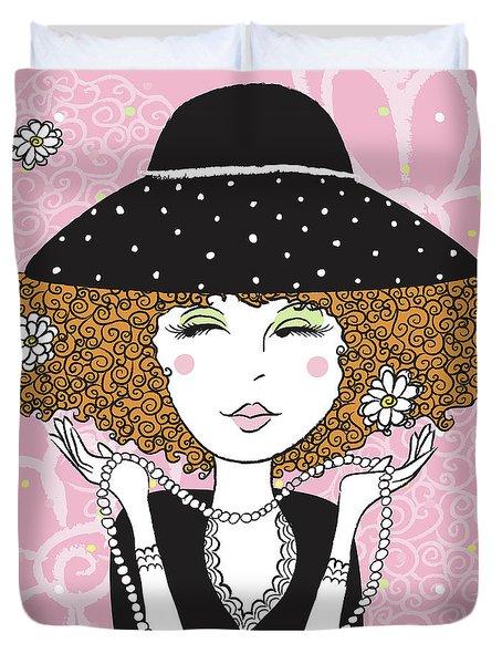 Curly Girl In Polka Dots Duvet Cover