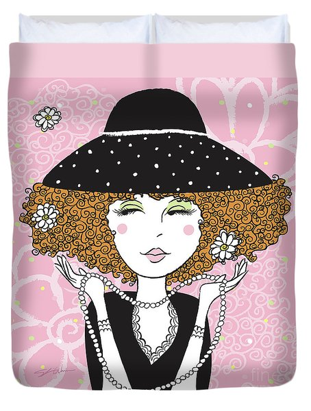Curly Girl In Polka Dots Duvet Cover