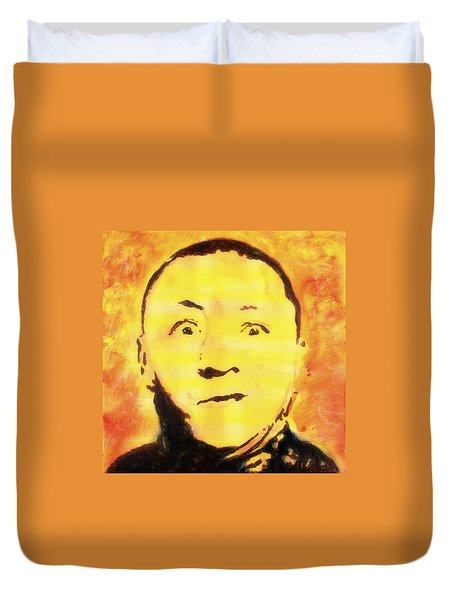 Curly Howard Three Stooges Pop Art Duvet Cover