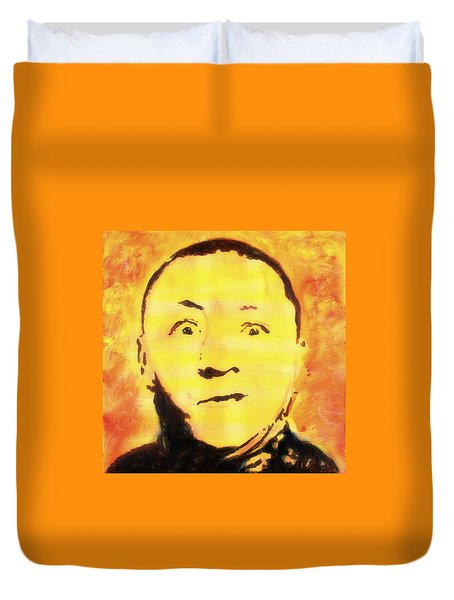 Duvet Cover featuring the painting Curly Howard Three Stooges Pop Art by Bob Baker