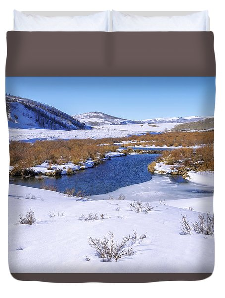 Currant Creek On Ice Duvet Cover by Chad Dutson