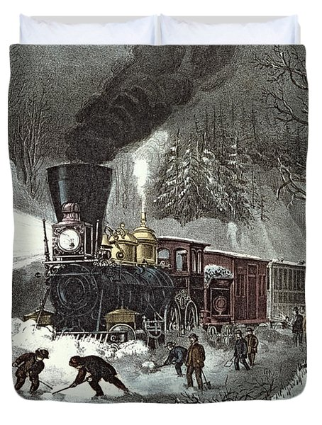 Currier And Ives Duvet Cover by American Railroad Scene