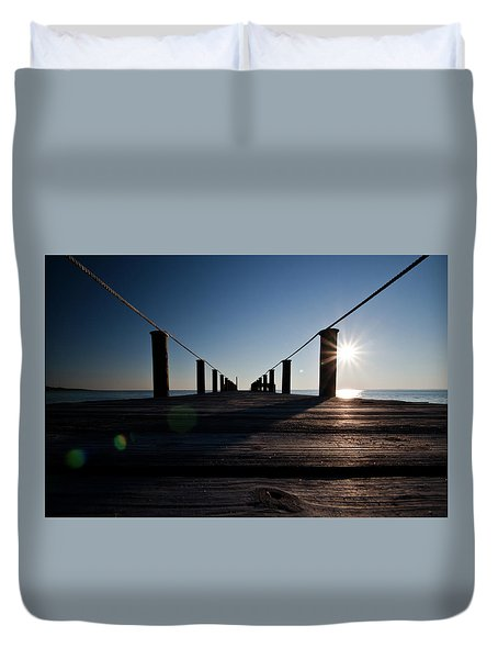 Duvet Cover featuring the photograph Currituck Sunset by David Sutton