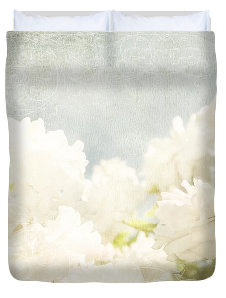 Curtains And Fountains Of Roses Duvet Cover