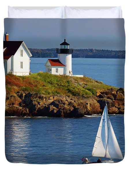 Curtis Island Lighthouse - D002652b Duvet Cover