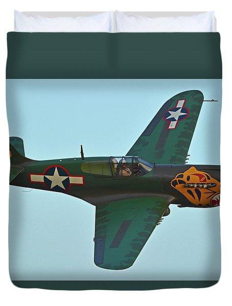 Duvet Cover featuring the photograph Curtiss P-40k Warhawk N401wh Chino California April 29 2016 by Brian Lockett