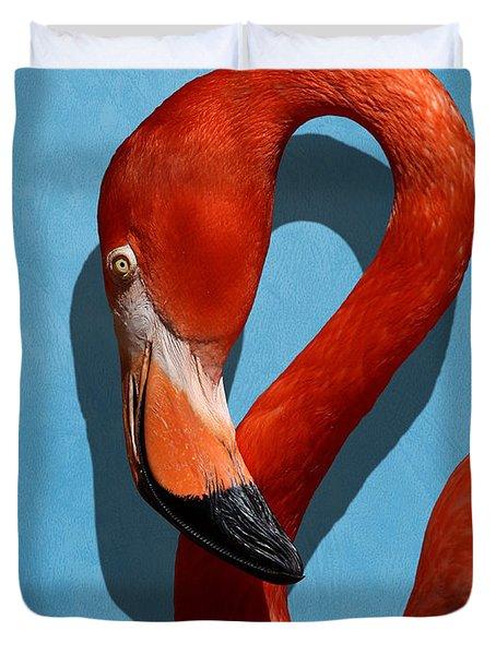 Curves, A Head - A Flamingo Portrait Duvet Cover