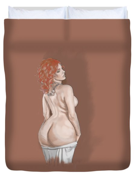 Duvet Cover featuring the mixed media Curves Of Helga by TortureLord Art