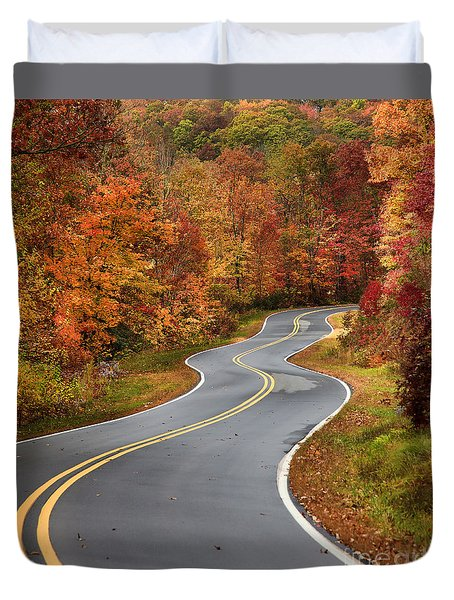 Curvy Road In The Mountains Duvet Cover