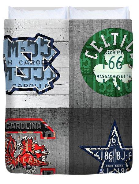Custom 4 Team License Plates Sport Art No 1 Duvet Cover