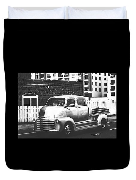 Duvet Cover featuring the photograph Custom Chevy Asbury Park Nj Black And White by Terry DeLuco