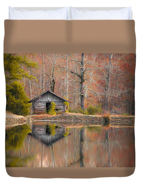 Custom Crop - Cabin By The Lake Duvet Cover by Shelby  Young