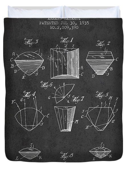 Cut Diamond Patent From 1935 - Charcoal Duvet Cover