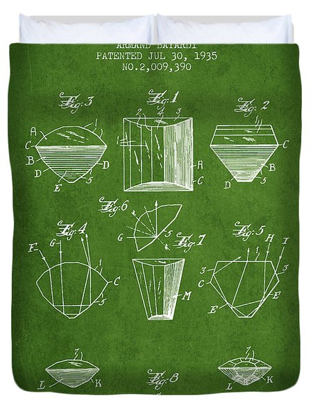 Cut Diamond Patent From 1935 - Green Duvet Cover