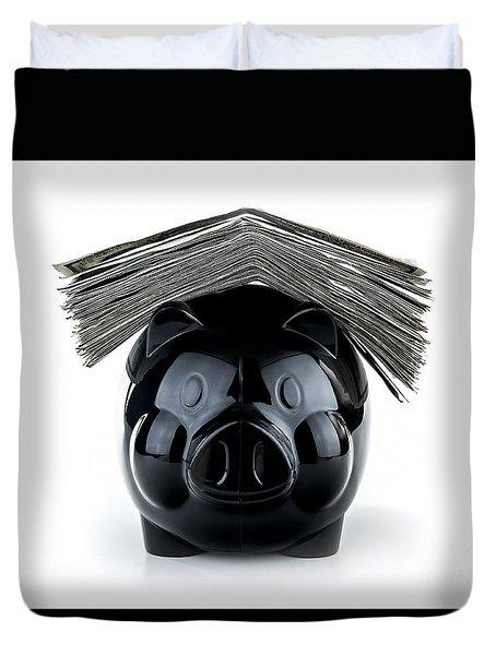 Cute Black Piggybank Duvet Cover
