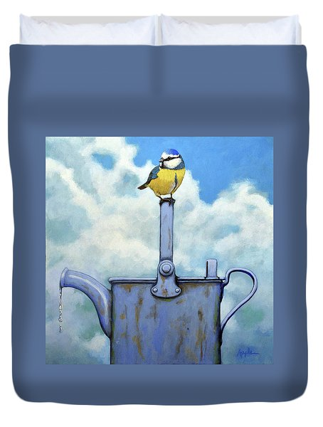 Duvet Cover featuring the painting Cute Blue-tit Realistic Bird Portrait On Antique Watering Can by Linda Apple