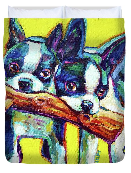 Cute Boston Terriers Duvet Cover