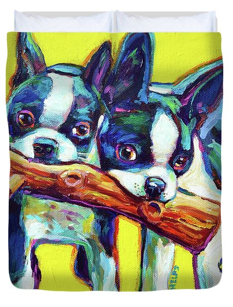 Duvet Cover featuring the painting Cute Boston Terriers by Robert Phelps
