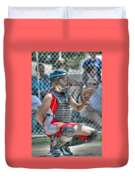 Cute Catcher In Red And White. Duvet Cover