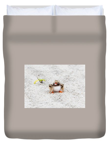 Cute Chick At Beach Duvet Cover