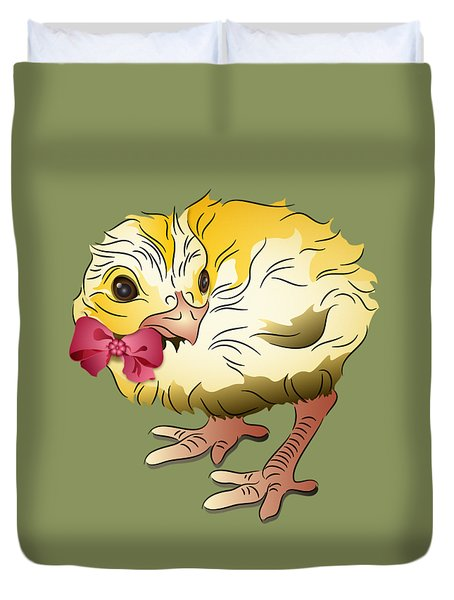 Duvet Cover featuring the digital art Cute Chick by MM Anderson
