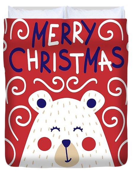 Cute Christmas Card With A Picture Of A Bear In A Scandinavian S Duvet Cover