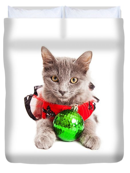 Cute Christmas Kitten Looking Into Camera Duvet Cover