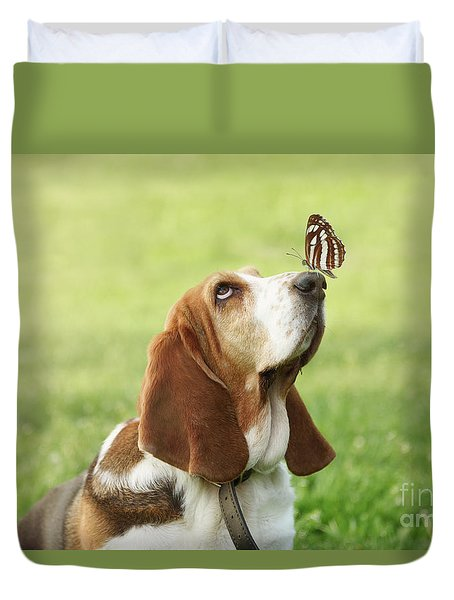 Cute Dog With Butterfly On His Nose Duvet Cover
