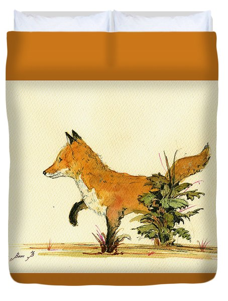 Cute Fox In The Forest Duvet Cover by Juan  Bosco
