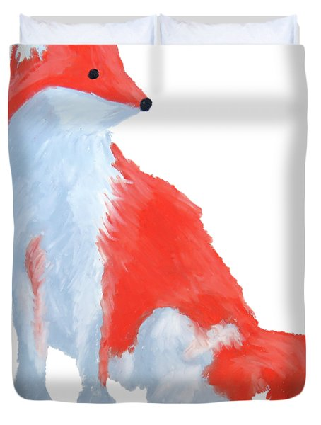 Cute Fox With Fluffy Tail Duvet Cover