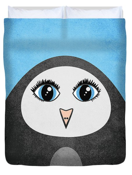 Cute Geometric Penguin Duvet Cover
